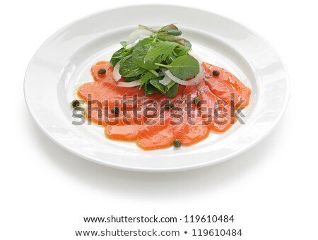 Plate of smoked salmon with capers Stock photo © IS2