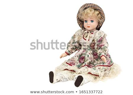 Antieke oude blond porselein pop gezicht Stockfoto © lunamarina