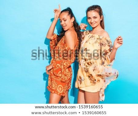 sexy blond woman in blue dress stock photo © acidgrey