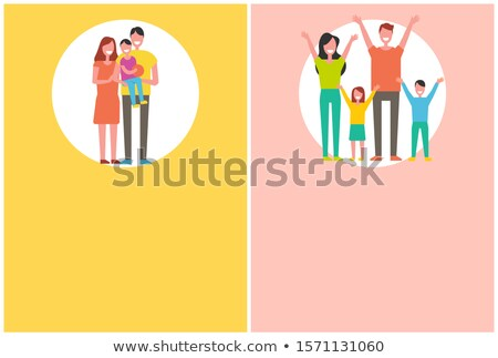 Mother, Father, Daughter Rising Hands Up Greetings Stock photo © robuart
