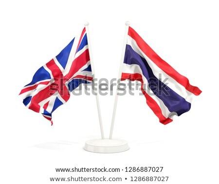 Foto stock: Dois · bandeiras · Tailândia · isolado · branco
