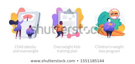 Establecer grasa nino ejercicio ilustración cielo Foto stock © bluering