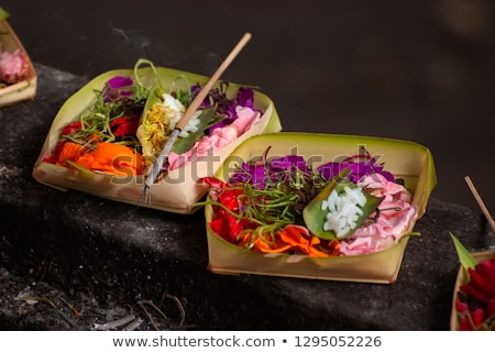 Balinese Hindu Offerings Called Canang. Canang sari is one of the daily offerings made by Balinese H Stock photo © galitskaya