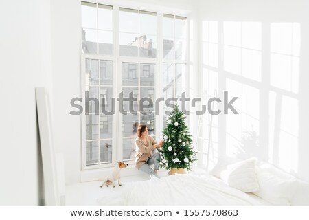 Happy young brunette woman and domestic animal decorate New Year tree at home. Cozy domestic interio Stock photo © vkstudio
