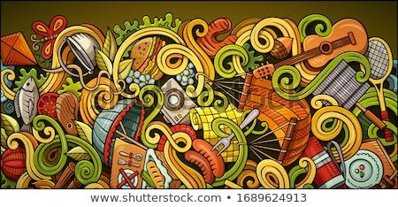 Primavera dibujado a mano garabato banner Cartoon detallado Foto stock © balabolka