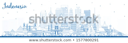 Outline Jakarta skyline with blue landmarks and copy space.  Stock photo © ShustrikS