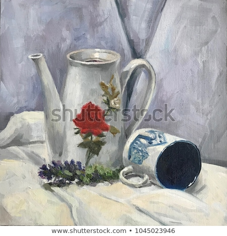 Still life with teapot and cup, academic oil painting concept illustration Stock photo © evgeny89