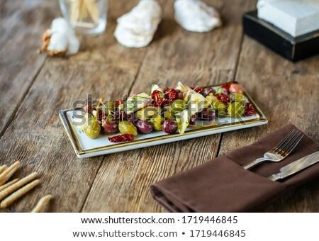 プロシュート チーズ トマト プレート 夏 緑 ストックフォト © olira