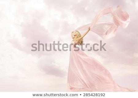Foto stock: Menina · feliz · longo · seda · vestir · feliz · mulher · jovem
