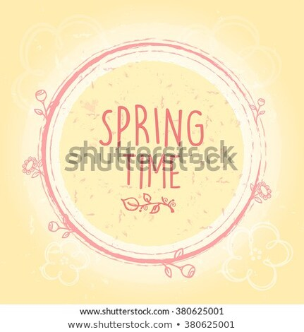 spring flowers over beige old paper background with circles Stock photo © marinini