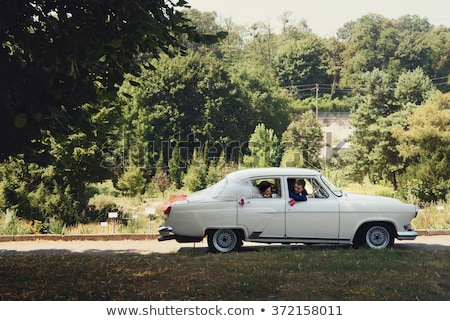 belle · mariage · voiture · plaque · femme - photo stock © monkey_business