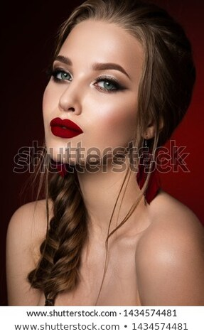 Makeup. Jewelry. Glam lady. Beauty fashion girl model isolated o Stock photo © Victoria_Andreas