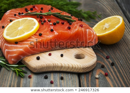 Slice Of Red Fish Salmon With Fruits Foto d'archivio © Es75