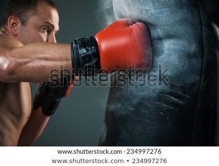 Muscular homem jovem caucasiano boxeador vermelho Foto stock © master1305