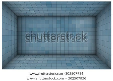 Сток-фото: пусто · футуристический · комнату · синий · мозаика · стен
