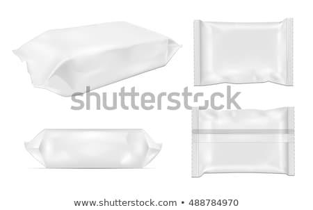 white and black blank foil packaging plastic package sachet sw stock photo © netkov1