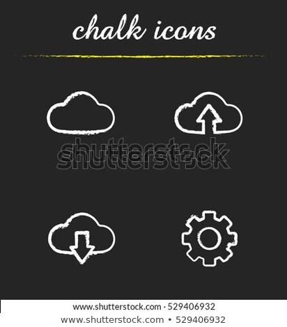 bulut · ok · yukarı · ikon · tebeşir - stok fotoğraf © RAStudio