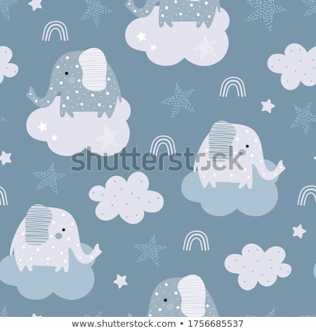 seamless vector pattern of blue baby elephants stock photo © adrian_n