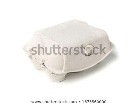 Seis ovos branco fundo frango fazenda Foto stock © hamik