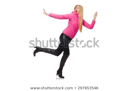 Zdjęcia stock: Dość · dziewczyna · różowy · kurtka · odizolowany · biały