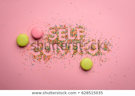 Top view of self control lettering made from candies isolated on pink, healthy living concept Stock photo © LightFieldStudios