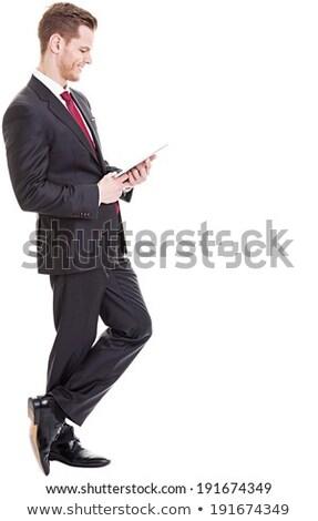 középső · rész · üzletember · digitális · tabletta · fehér · üzlet - stock fotó © wavebreak_media