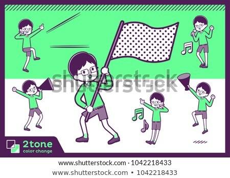 2tone type Green clothing glasses boy_set 07 Stock photo © toyotoyo