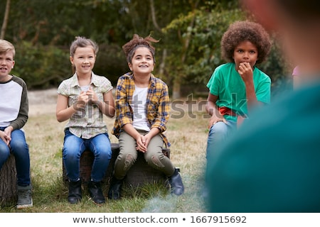 кемпинга дети природы иллюстрация девушки лес Сток-фото © bluering