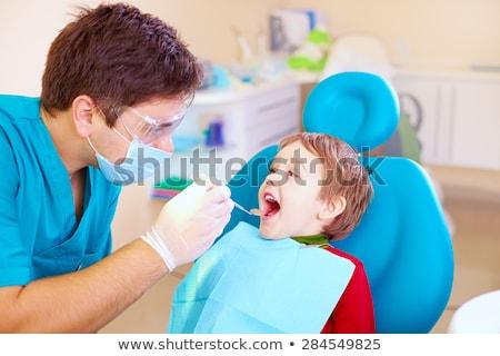 fiú · száj · kinyitott · orális · vizsgálat · fogászati - stock fotó © dolgachov