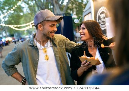Mutlu satın alma Burger gıda kamyon Stok fotoğraf © dolgachov