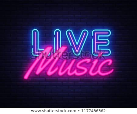 Neón vivir música pared de ladrillo luz Foto stock © konturvid
