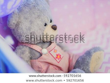 Bedroom scene with pink teddybear and white crib Stock photo © colematt