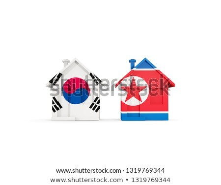Two houses with flags of South Korea and North Korea Stock photo © MikhailMishchenko