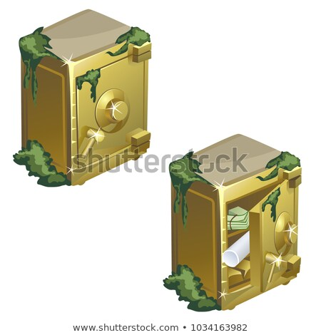 Sunken golden safe with documents isolated on white background. Vector cartoon close-up illustration Stock photo © Lady-Luck