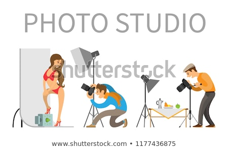 Photographer and Model in Swimsuit in Photo Studio Stock photo © robuart