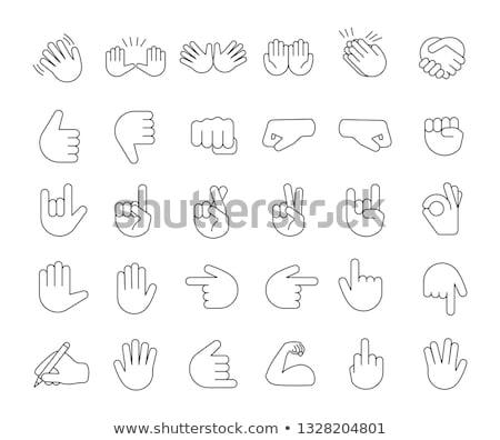 Vonal rajz emotikon ikon gyűjtemény egyszerű arc Stock fotó © Blue_daemon