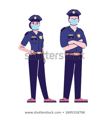 いたずら書き 単純な 警察 文字 実例 子供 ストックフォト © colematt