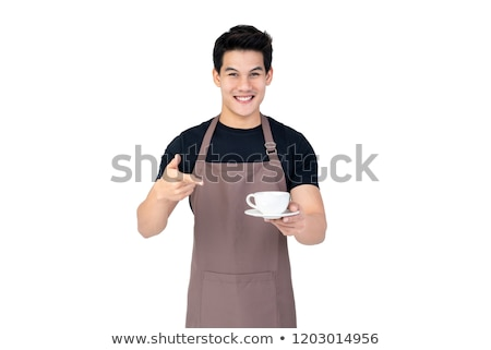 Young barista isolated on white background Stock photo © Elnur