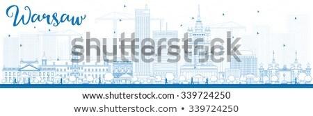 Schets Warschau skyline Blauw gebouwen Stockfoto © ShustrikS
