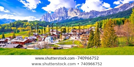 Cortina D' Ampezzo street and Alps peaks view Stock photo © xbrchx