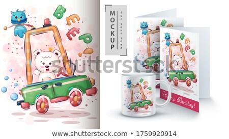 Oso polar coche anunciante mano sonrisa ninos Foto stock © rwgusev