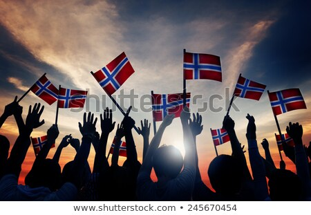 Woman waving the flag of Norway at sunset Stock photo © cookelma
