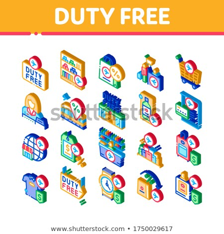 Duty Free Shop Store Isometric Icons Set Vector Stock photo © pikepicture