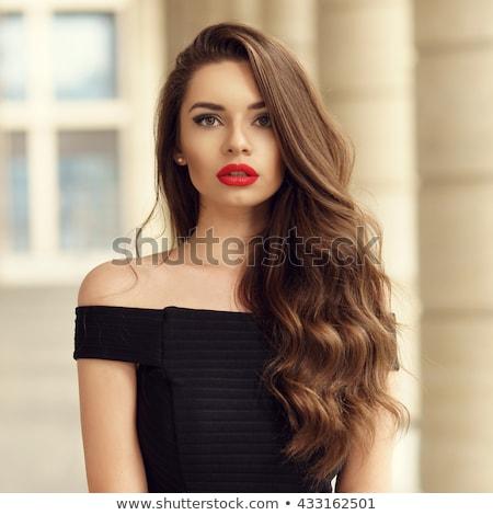 Foto stock: Belo · morena · menina · vestido · vermelho · mulher