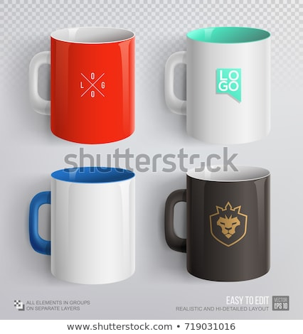 red mug on white background vector stock photo © soland