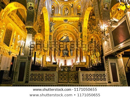 Golden mosaic in Cappella Palatina Stock photo © smuki