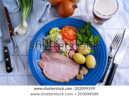 Danish ham with potatoes and mustard Stock photo © Klinker