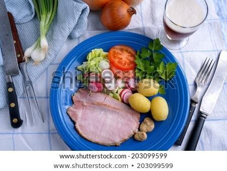 Sonka krumpli mustár vacsora hús étel Stock fotó © Klinker