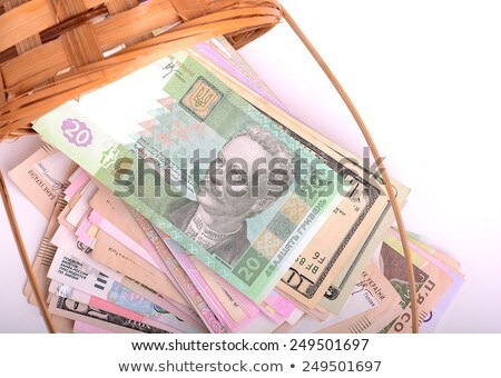european money on wooden basket hryvnia dollars euro stock photo © fotoscool