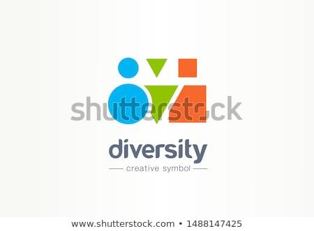 Personas trabajo en equipo cuadrados color icono diseno Foto stock © blaskorizov